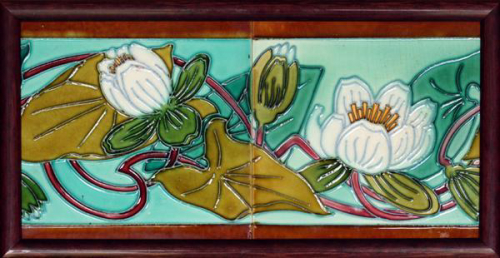 c.1905 Hemiksem Gilliot Belgian Art Nouveau two tile lily set, framed