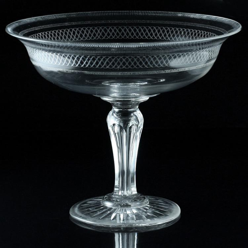 c.1880 large engraved crystal footed bowl tazza centerpiece