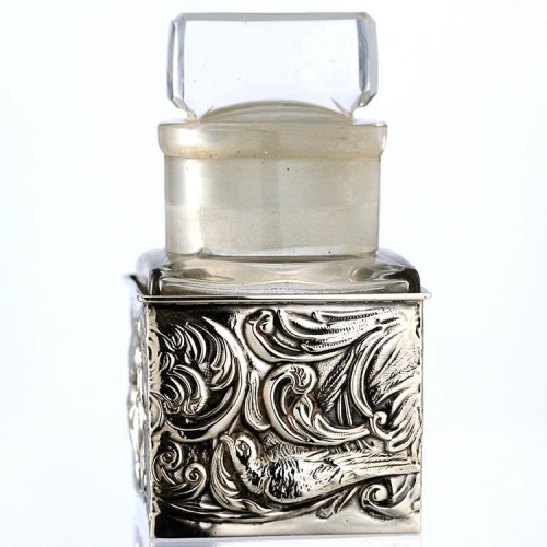 1903 Sterling Silver Scent Perfume Bottle Stand with Crystal Bottle