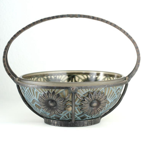c.1930s Pierre d'Avesn Lorrain moulded & stained deco glass bowl in metal stand