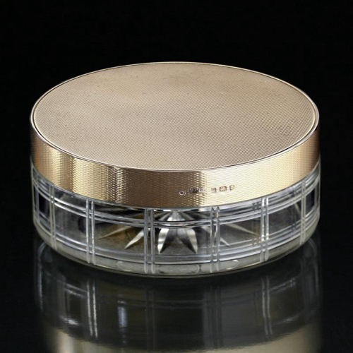 1942 Mappin & Webb crystal box, silver gilt cover