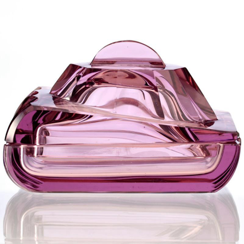c.1920s Czech Deco lilac cut glass WW1 Renault tank dressing table container & cover