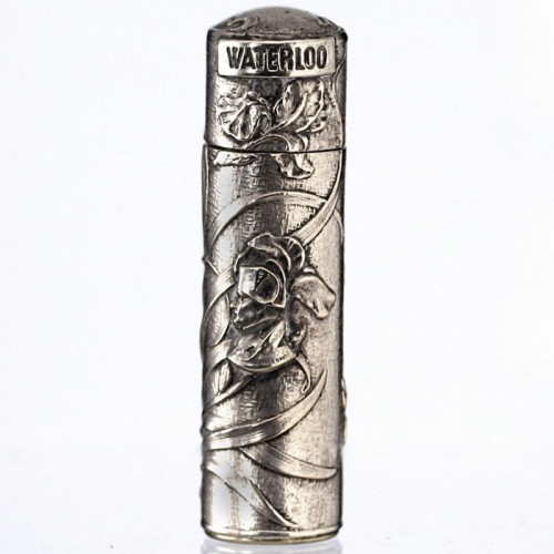 c.1915 silver plate Napoleon Waterloo commemorative scent perfume bottle
