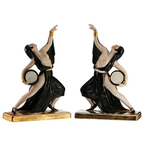 c.1930s pair of Art Deco porcelain dancers by Jean Born Robj Paris