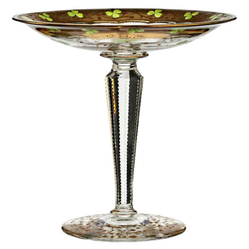 c.1900 Bohemian gilded & clover leaf enamelled glass tazza compote
