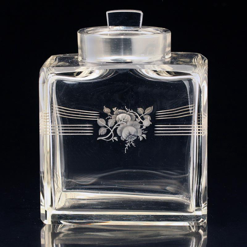 c.1950s engraved crystal container canister