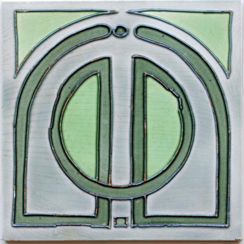 c.1910 Continental Modernist Tube Line Tile