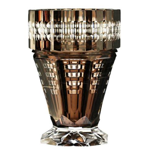 Rare c.1930s Val St. Lambert Clear over Brown Inside Cased & Cut Crystal Vase, Joseph Simon