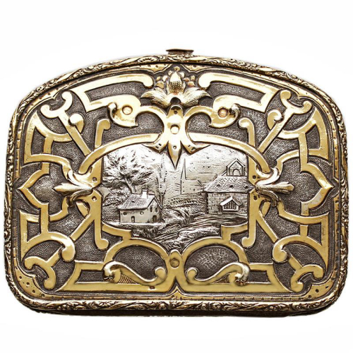 c.1880 French silver gilt evening bag purse