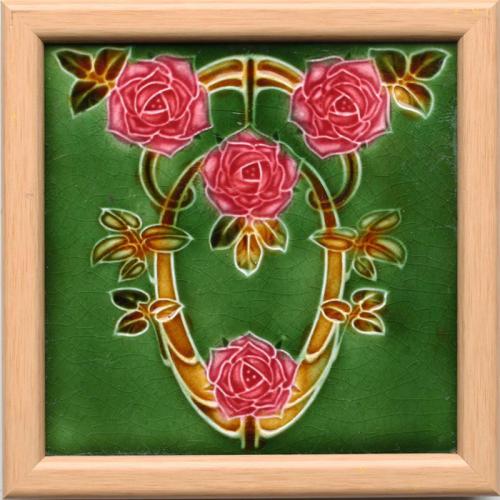 c.1905 English Art Nouveau Tile #6 , Framed