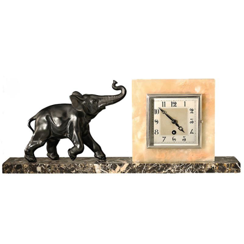 c.1930s French Art Deco Elephant mantel clock, Marti 8 day movement