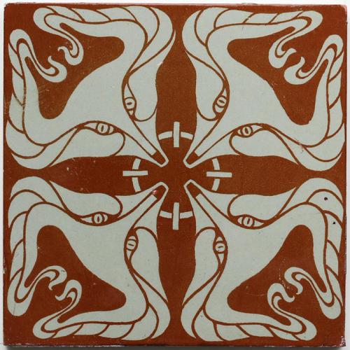 c.1910 German Modernist fox head tile, Otto Eckmann for Villeroy & Boch