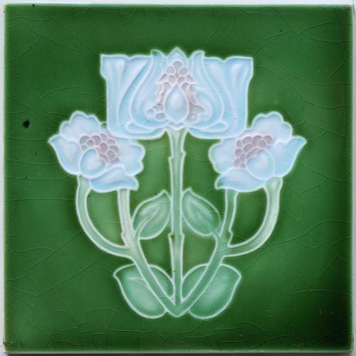 c.1900 English Art Nouveau Floral Tile, Corn Bros.