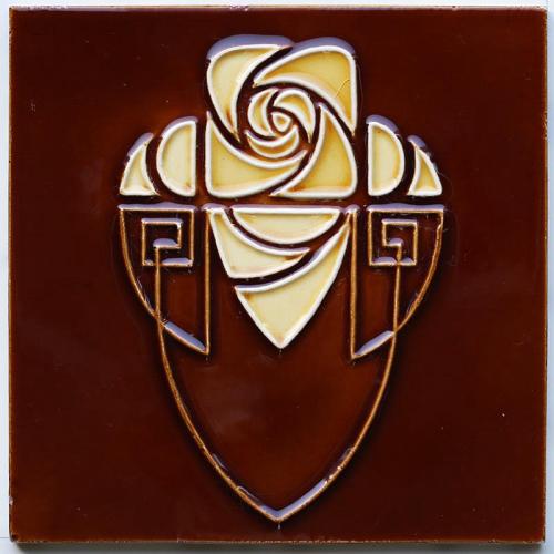c.1910 Art Nouveau Stylised Rose & Shield Tile #2, Hemixem Belgium