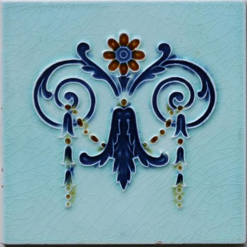 c.1905 Art Nouveau Bell Flower Tile #2, Hemixem Belgium