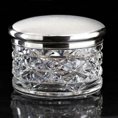 c.1930s large cut crystal bowl with sterling silver lid by Gebrüder Kühn