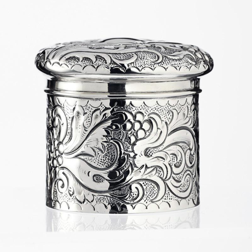 1897 sterling silver pot, box, and cover