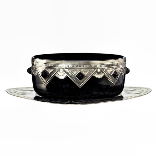 c.1930s Black Amethyst Art Deco Glass Bowl with Pewter & Cabochon Mounts on Tablet