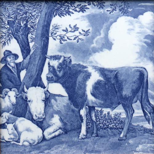 c.1880 large Continental blue & white rustic animal scene tile, framed