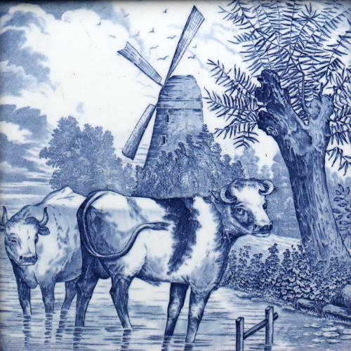 c.1880 large Continental blue & white rustic animal scene tile #2, framed