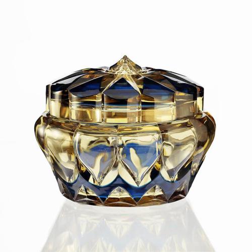 c.1950s Val St. Lambert blue over topaz crystal bowl & cover