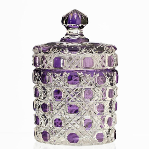 c.1920s amethyst to clear crystal container & cover