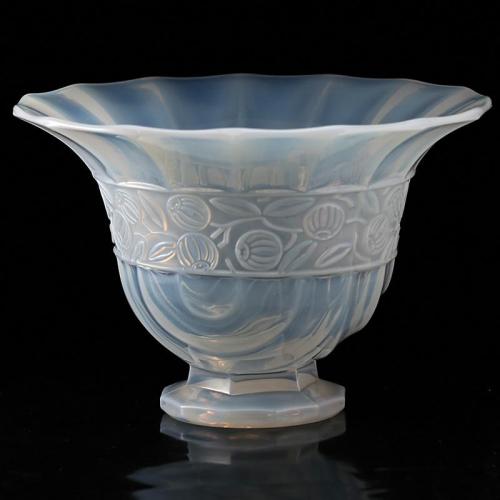c.1930s Opalescent Relief Moulded Art Deco Glass Vase