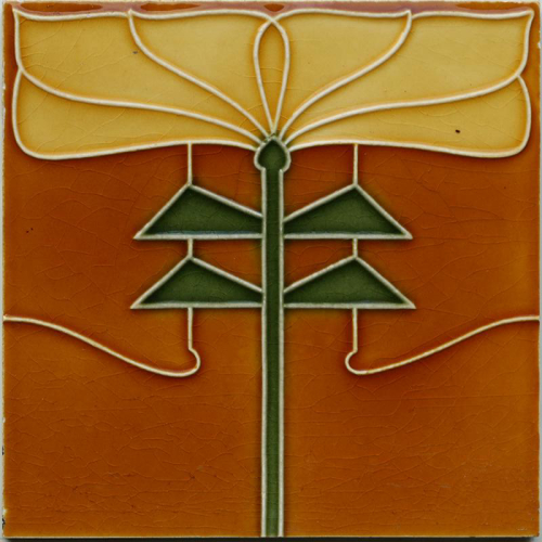 c.1905 English floral tile in the Rennie Mackintosh style