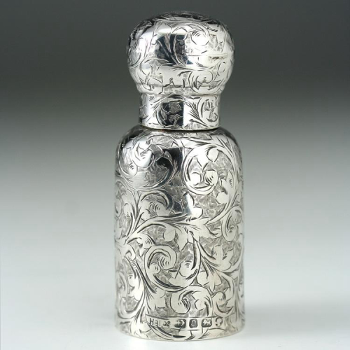 1880 scrollwork embossed sterling silver scent perfume bottle