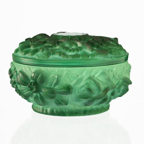 c.1930s Curt Schlevogt Ingrid Deco malachite glass pot and cover