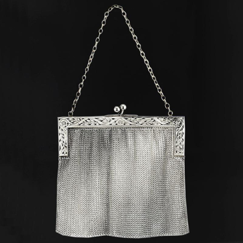 1913 925 sterling silver frame and mesh evening bag