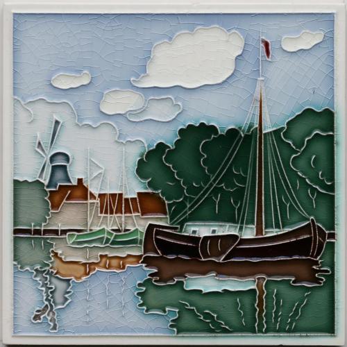 c.1910 Grohn Germany scenic tile