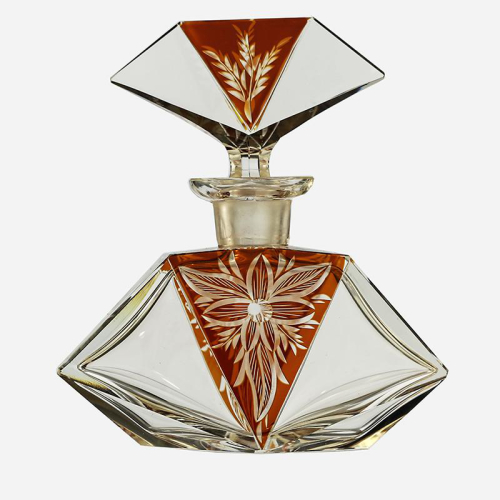 c.1930s Deco amber flashed and engraved crystal dressing table scent perfume bottle