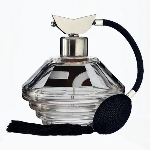 c.1930s Czech black enamelled Deco dressing table glass scent perfume spray atomizer