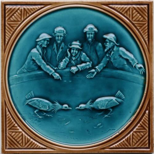 c.1880 rare Minton Hollins gaming tile