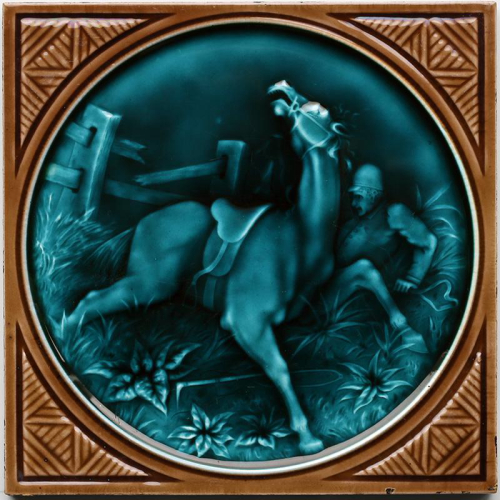 c.1870 rare Minton Hollins hunting tile #4