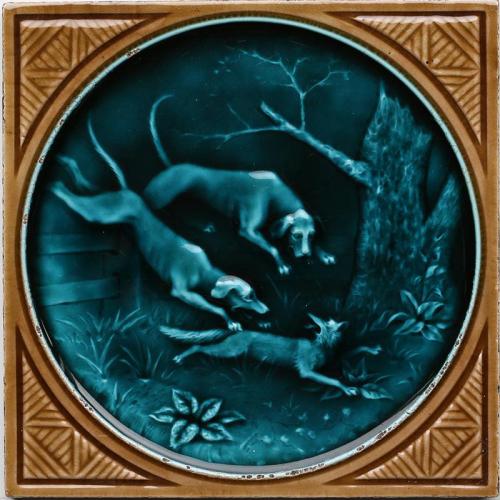 c.1870 rare Minton Hollins hunting tile #3