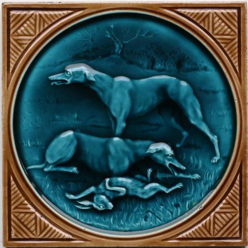 c.1880 rare Minton Hollins hunting tile #2