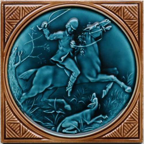 c.1880 rare Minton Hollins hunting tile