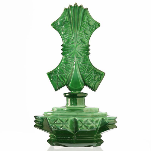 1930s Deco Malachite Glass Scent Perfume Bottle
