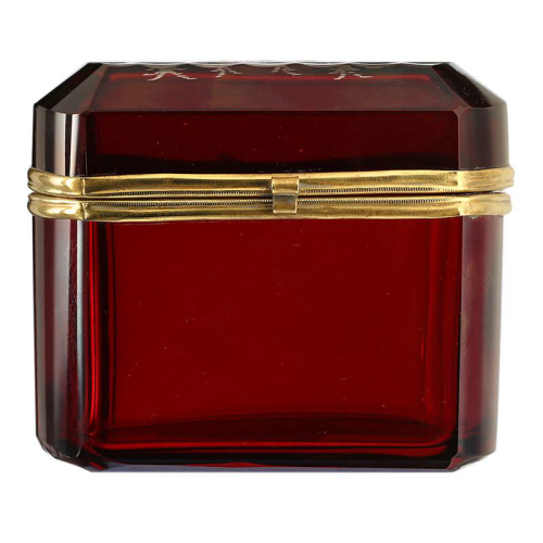 c.1900 Bohemian ruby flashed and engraved glass container box and cover