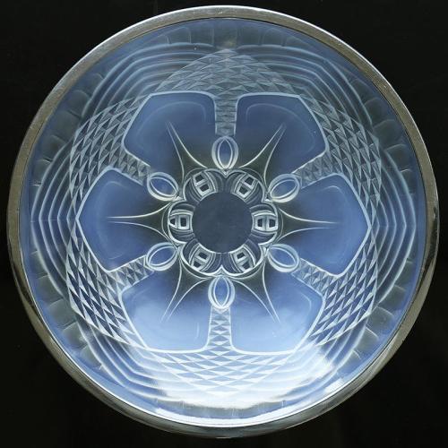 c.1930s Julien France Art Deco opalescent glass bowl, chrome rim