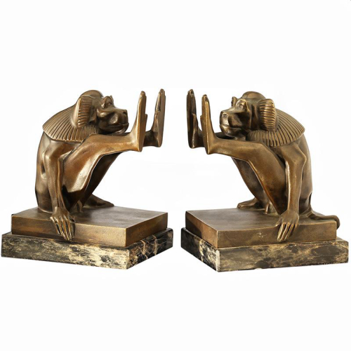 c.1930s French pair of bronze Art Deco baboon bookends EBAY