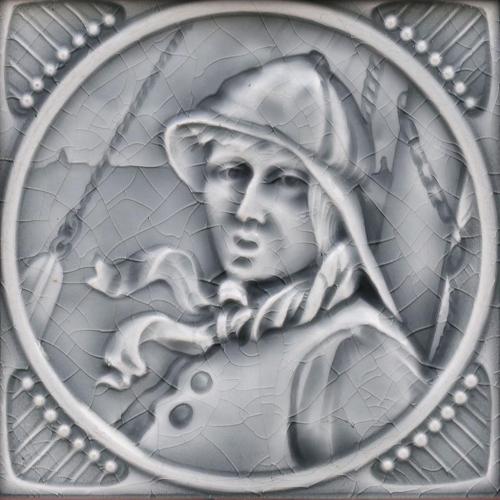 c.1900 Wessel Art Nouveau figural tile, framed