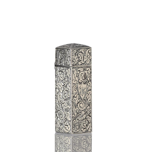 1851 square sterling silver scent perfume bottle