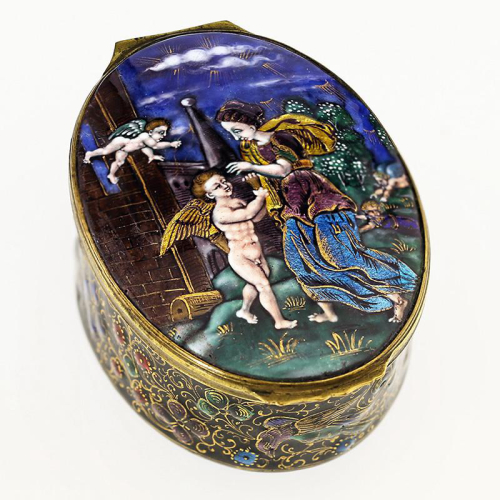 c.1860 Limoges enamel on brass box
