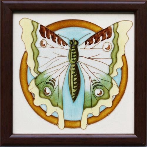 c.1900 Saint Amand & Homage Nord Art Nouveau butterfly tile, framed