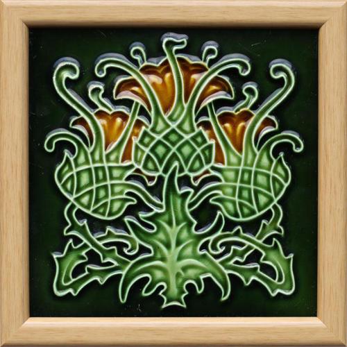 c.1905 Hemixem Art Nouveau thistle tile, framed