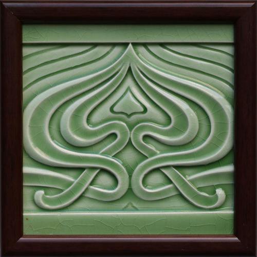 c.1905 Utzschneider Art Nouveau Tile, Framed