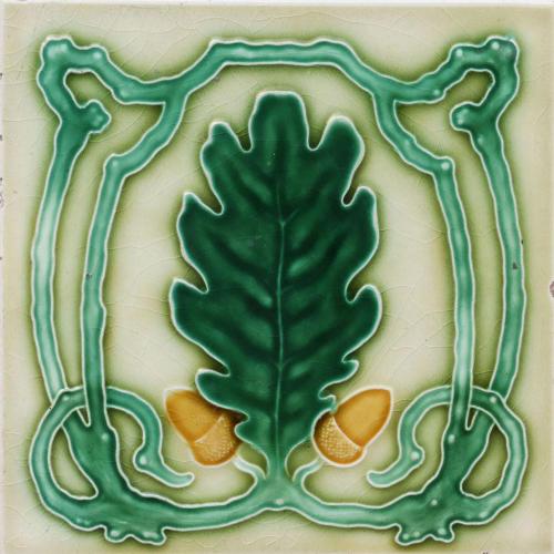 c.1900 NSTG German Art Nouveau Acorn Tile